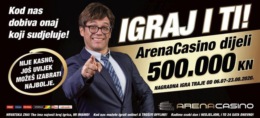 Arena Casino poklanja pola milijuna kuna, nagradna igra, online casino